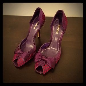 Purple and pink dorsay peep-toe pumps